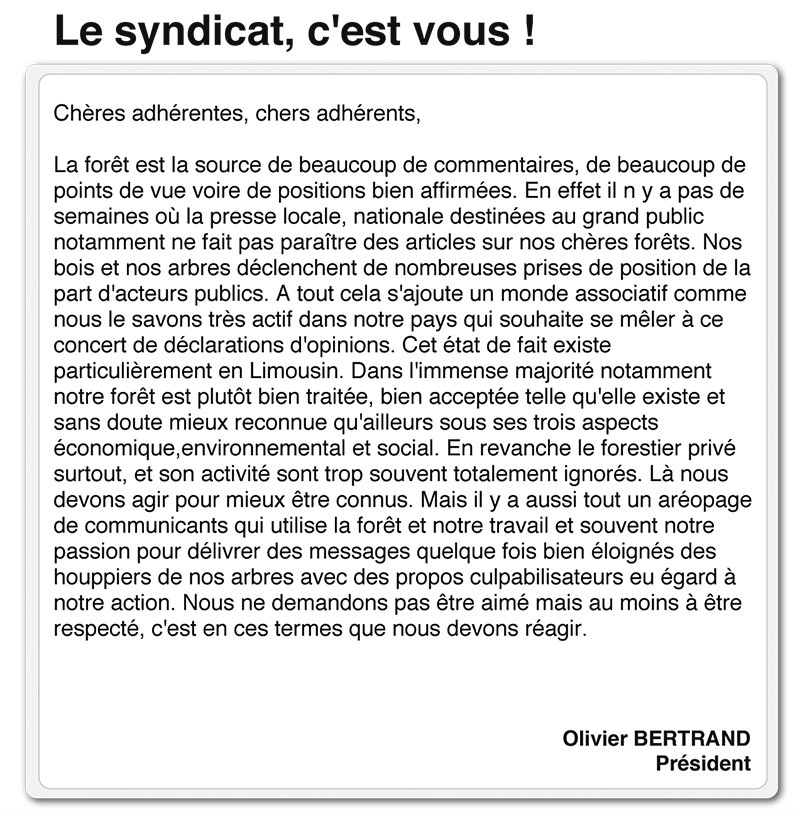 syndicat forestier