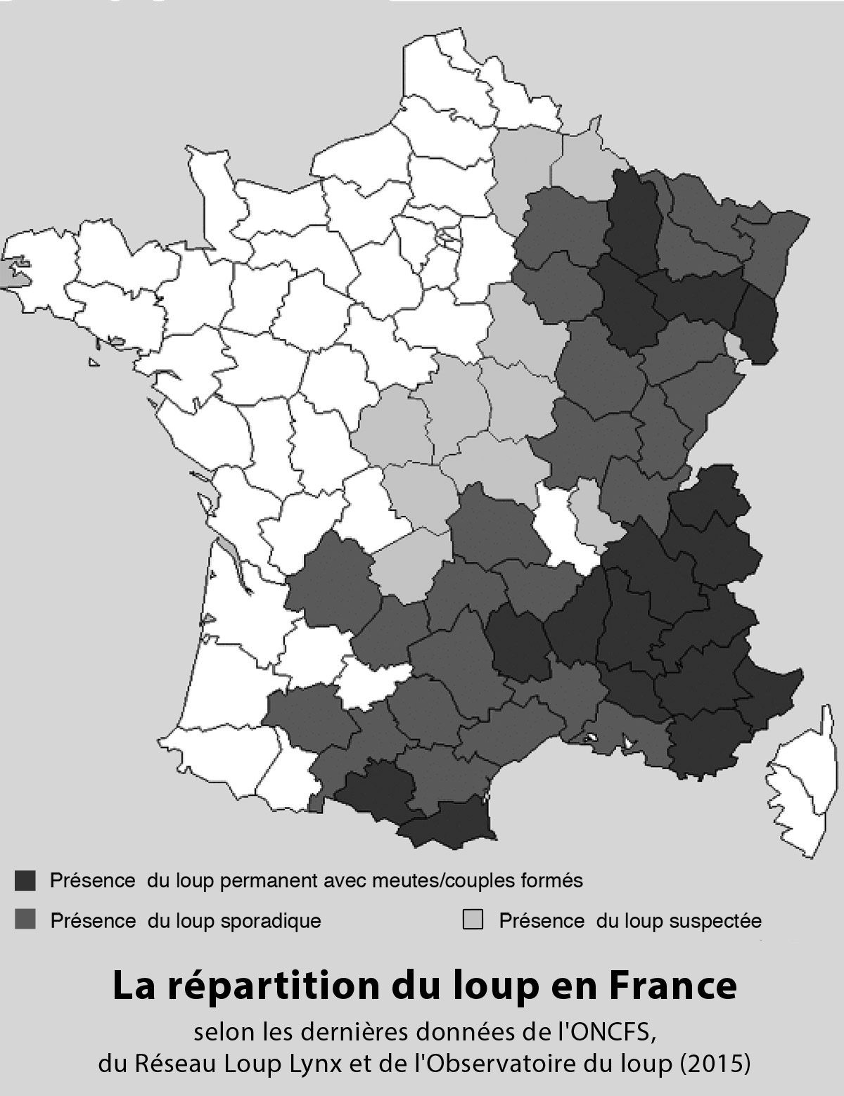 repartition du loup France 2015